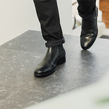 Chelsea mens black leather shoes with slacks
