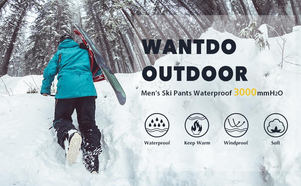 Wantdo Men's Cargo Snow Pants