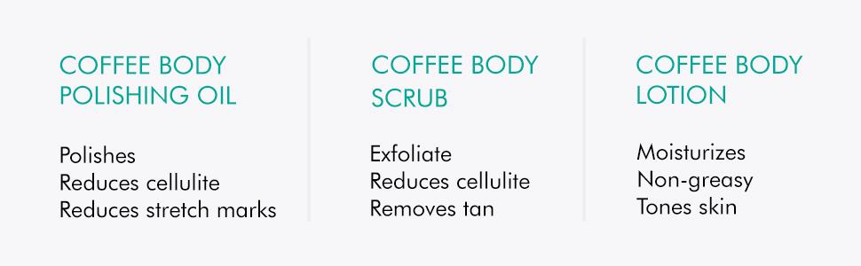 coffee body scrub body lotion body polishing oil exfoliate reduces cellulite removes tan moisturizes