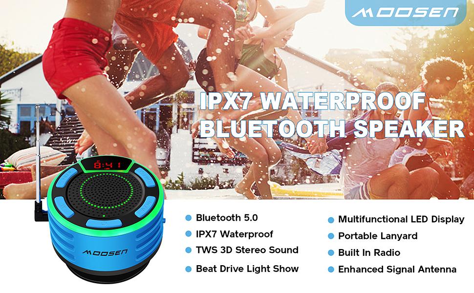 Altavoz Bluetooth, moosen IPX7 Impermeable Altavoz de Ducha ...