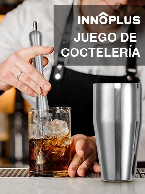 INNÔPLUS Coctelera, Cocktail Kit de Acero Inoxidable, Kit Cocteleria Profesional de 5 Pezzi, Coctelera para Cocteles, Gin Tonic Kit Cocteleria Regalar ...