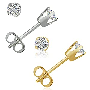 AGS Certified 1//3ct tw Round Soltaire Diamond Stud Earrings in 14K White Gold Amanda Rose Collection PDE33WGZAGS