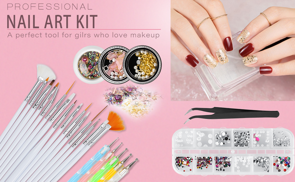 Review for Nail Art Kit WOVTE 15 Gel Acrylic Painting Brushes 5 Dotting Pens 12 Grids Nail Art Rhinestones 2 Pack Colorful Diamonds Crystals Beads Gems Nail Art Decorations and 1 Tweezers for Nail Art DIY