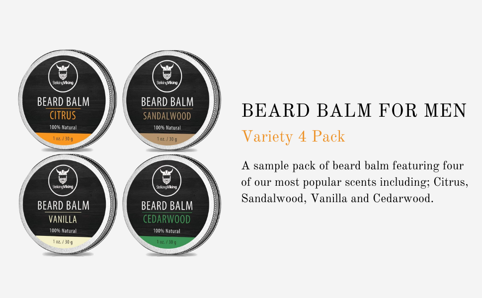 beard balm variety pack, striking viking beard balm men, beard balm sample pack, beard balm 4 pack
