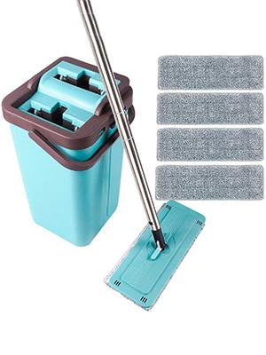 360° Flat Squeeze Microfiber Mop and Bucket Set Floor Cleaning 4//6//7//8//10 Mops