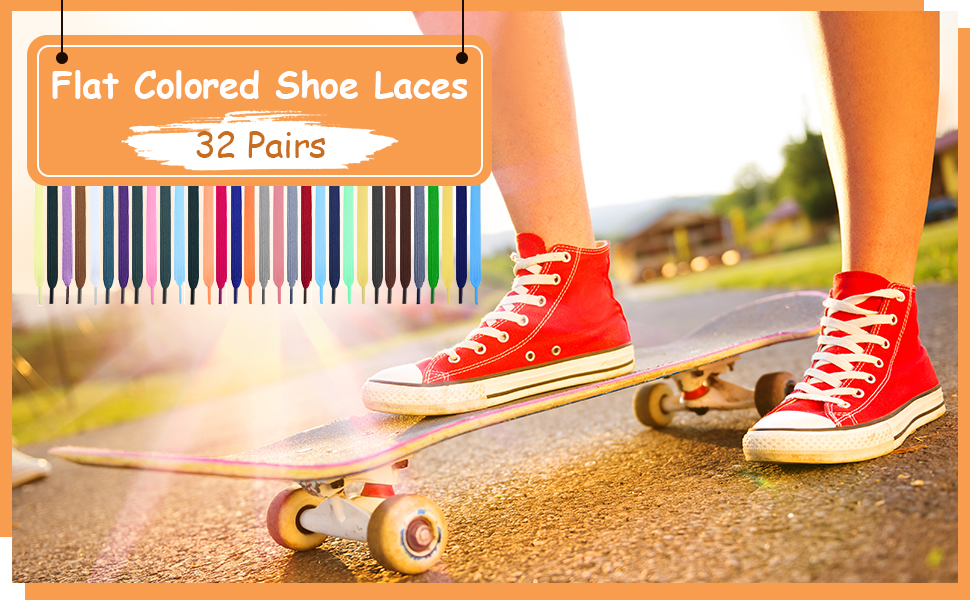32 Pairs Flat Colored Shoe Laces Athletic Shoe Laces Strings for Sports Shoes Boots Sneakers Skates 32 Colors
