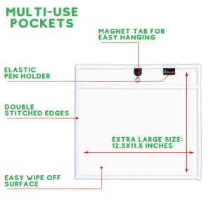 magnetic dry erase pocket sleeves job ticket holders oversize two point cubicle keepers