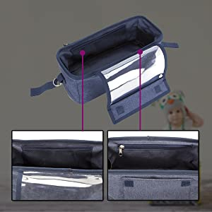 Inside the buggy organiser shown with the pockets and key clip shown