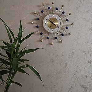 Wooden and Metal Ball Clock in Blue Modern Silent  Pop Color Quartz Clocks Decorative Living Room
