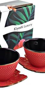 japanese cast iron teacup set beautiful great colors