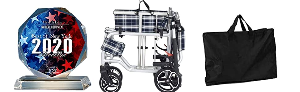 """Wheelchair Transport 19"""" Folding with bag 2020"""