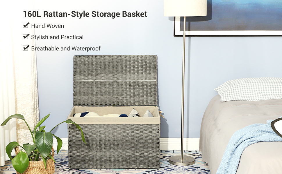 160L Rattan-Style Storage Basket  Hand-Woven Stylish and Practical Breathable and Waterproof