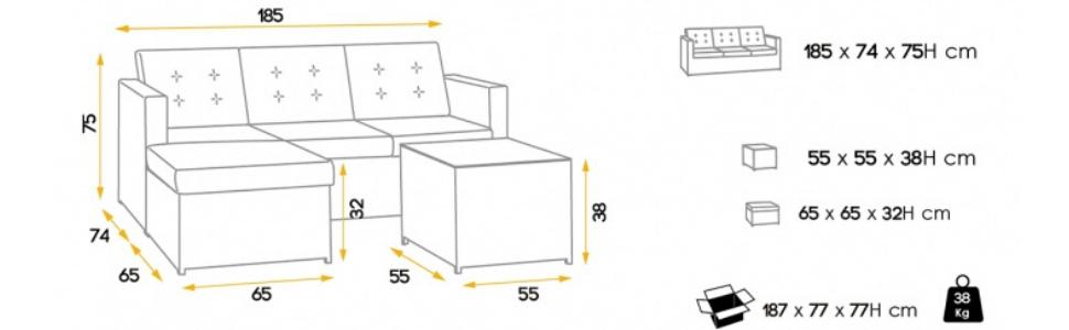 MOMMA HOME Conjunto Muebles de Jardín Ratán | Muebles para terraza/Exterior | Set de Ratán Sintético | Modelo MYKO Color Marrón | Sofá + Mesita Auxiliar: Amazon.es: Jardín
