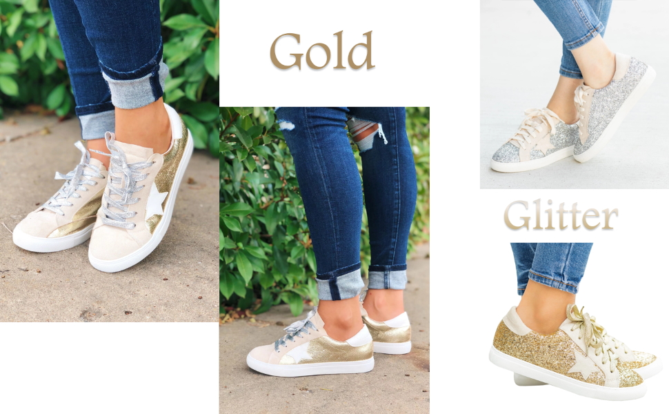 Womens Flat Glitter Sneakers Lace UpClosed Toe Sparkly Flatform Casual Shoes