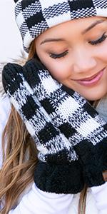 gloves mittens warm knit soft buffalo plaid sherpa lined fuzzy winter wear guantes crochet knit