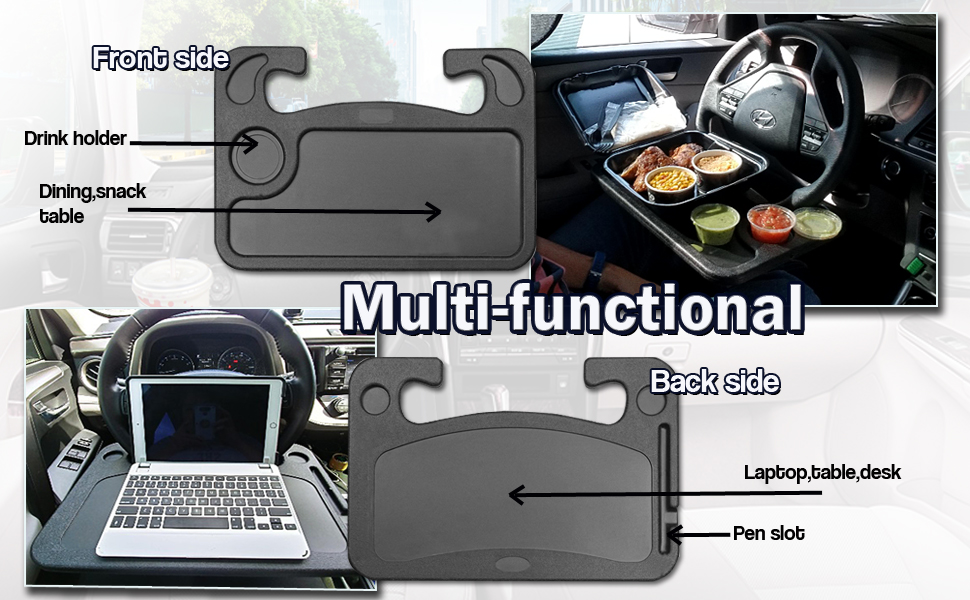 Black Auto Steering Wheel Desk,Available on both sides Car Laptop Desk,Multi-Functional Portable iPad,Notebook Car Travel Table,Food Steering Wheel Tray For Most Vehicles Steering Wheels,Best gift