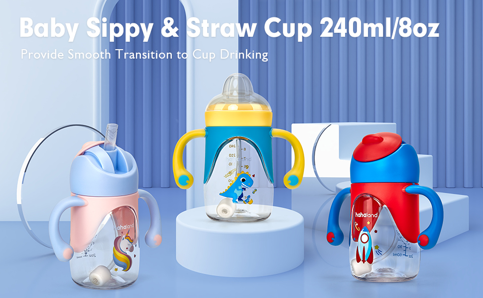 Hahaland 2 In 1 Baby Sippy amp; Straw Cup for Toddlers Drinking Transition 240ml/8oz