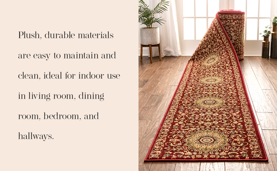 Well Woven area rug child pet safe medium pile traditional persian oriental medallion brown