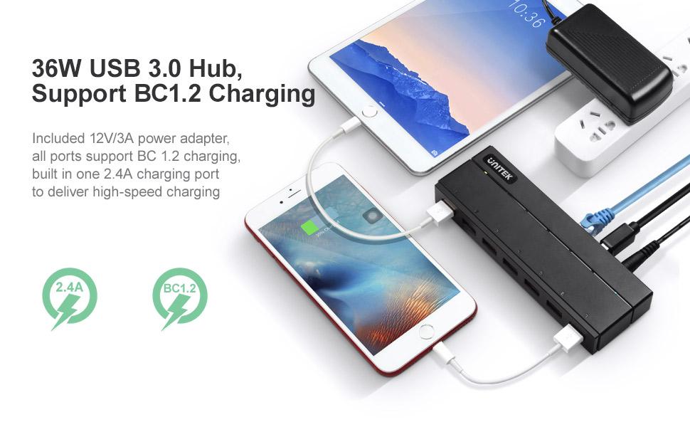 36W Powered USB Hub