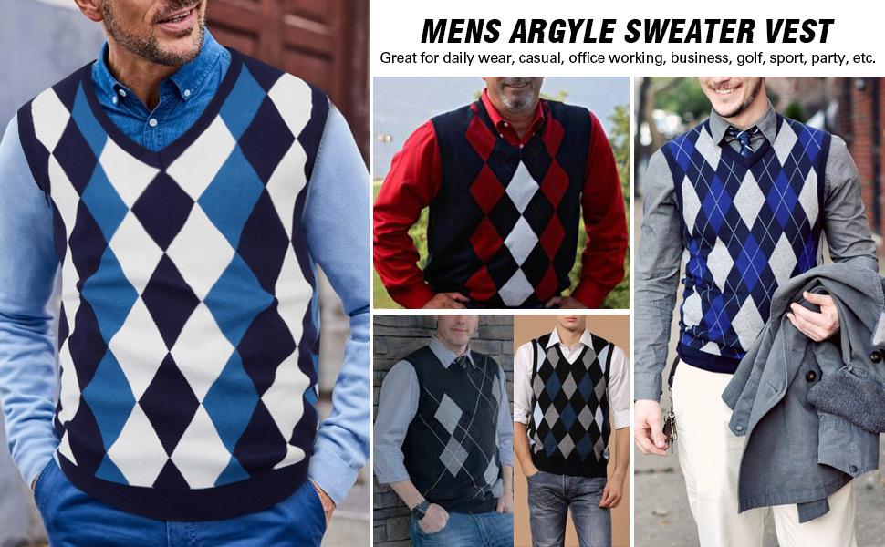 mens argyle knit sweater vest casual v neck pullover knitwear slim fit sleeveless sweater vests men