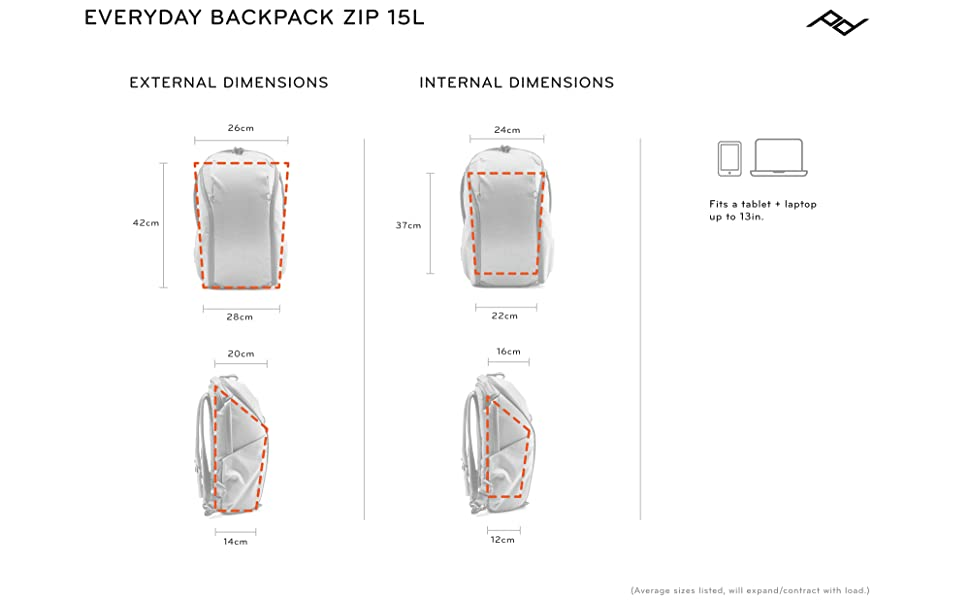 Everyday Backpack Zip 15L Sizing
