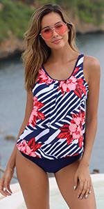 two 2 piece plus swimsuits for women tankini bathing suit blouson floral bikini bottom tummy control