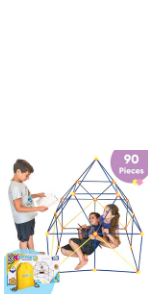 Fort Building Kit for Kids for Boys and Girls - 90 Pieces, Indoor Construction Set with Building Sti
