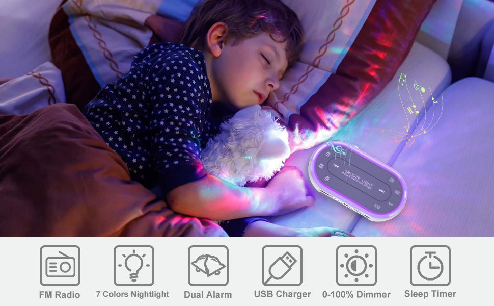 alarm  clock radio with 7 color nightlight