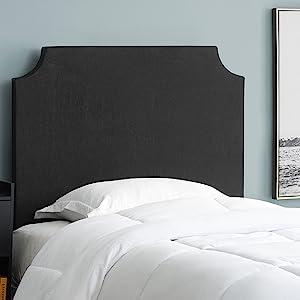 black linen canvas DIY do it yourself custom headboard for Twin XL college university dorm beds