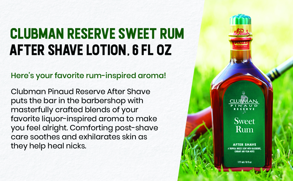 Clubman Reserve Sweet Rum After Shave Lotion, 6 fl oz