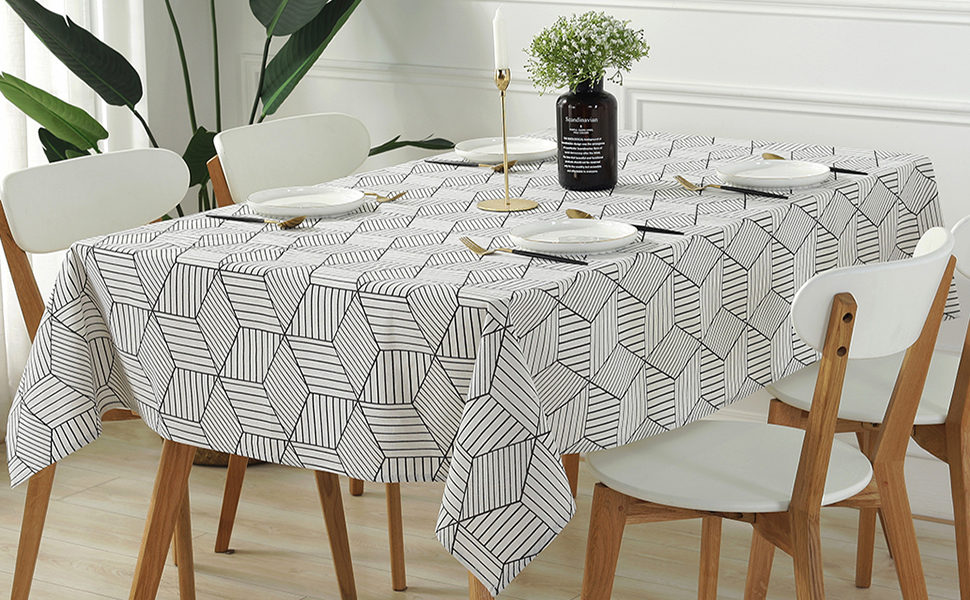 Amazon Com Sastybale Rectangle Tablecloth Geometric Style Cotton Linen Table Cloth Dust Proof Table Cover For Kitchen Dinning Tabletop Decoration Rectangle Oblong 52 X 108 8 10 Seats White Kitchen Dining