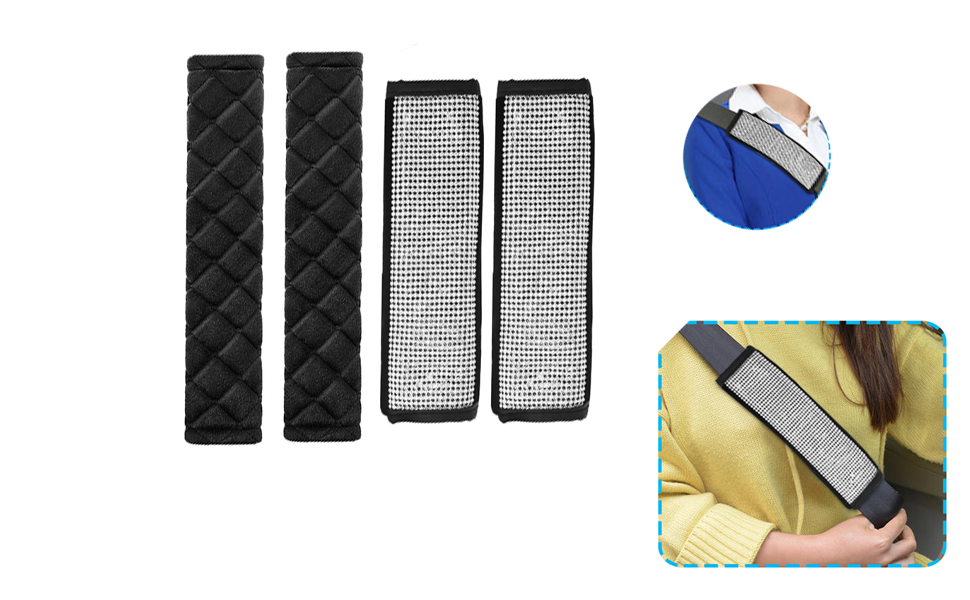 Bling Bling Car Safety Belt Covers Luster Crystal Seatbelt Covers Sparkly Diamond Car Decoration Accessories for Women /& Men AIFUDA 4 Pcs Seat Belt Shoulder Pads