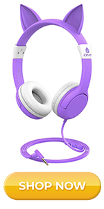Cat-Inspired Wired On-Ear Headphones for Kids