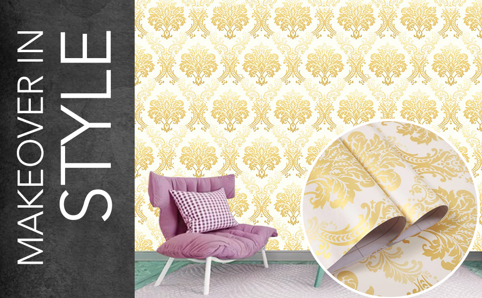 gold damask wall stickers wallpapers are DIY self-adhesive, decals