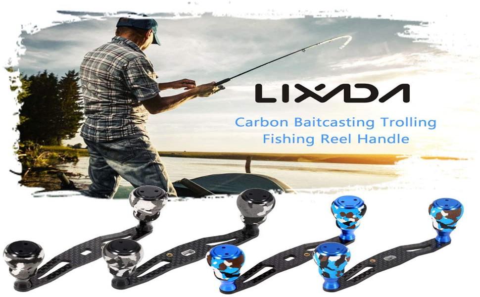 Lixada Fishing Reel Handle Carbon Fiber Trolling Reel Rocker Left Right Baitcasting Fishing Reel Crank Accessory