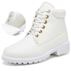 Inornever Faux Suede Snow Boots for Women Flat Platform Sneaker Shoes Winter Outdoor Ankle Booties