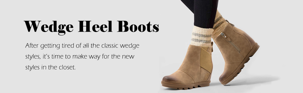 Details about  /Athlefit Women/'s Wedge Chelsea Boots Comfortable Ankle Wedge Booties