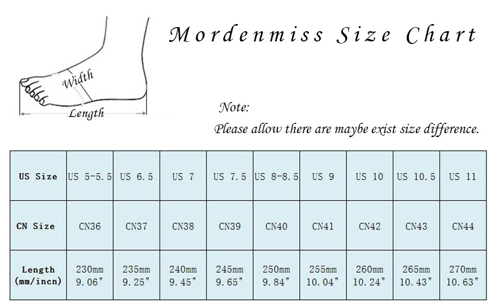 size chart for mordenmiss