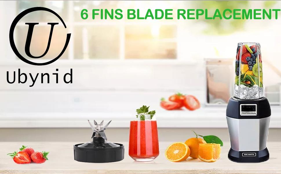 6 Fins Blender Extractor Blade Replacement for Nutri Ninja 16 oz Blender Cup with 1 Gasket Rubber Compatible with Nutri Ninja BL660 BL663 BL770 BL771 BL772 BL780 BL773CO BL773 BL810 BL820 BL830