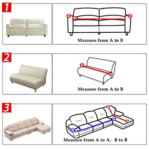 """size guide for Jaoul sofa slipcovers. 53""""-67"""" loveseat;68""""-86"""" -3 seater;87""""-114"""" -4 seater."""