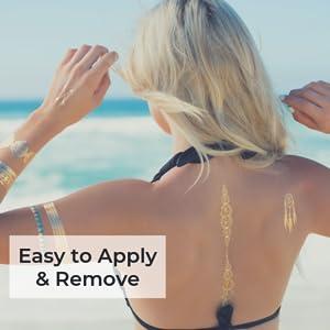 Waterproof temporary tattoos beach model