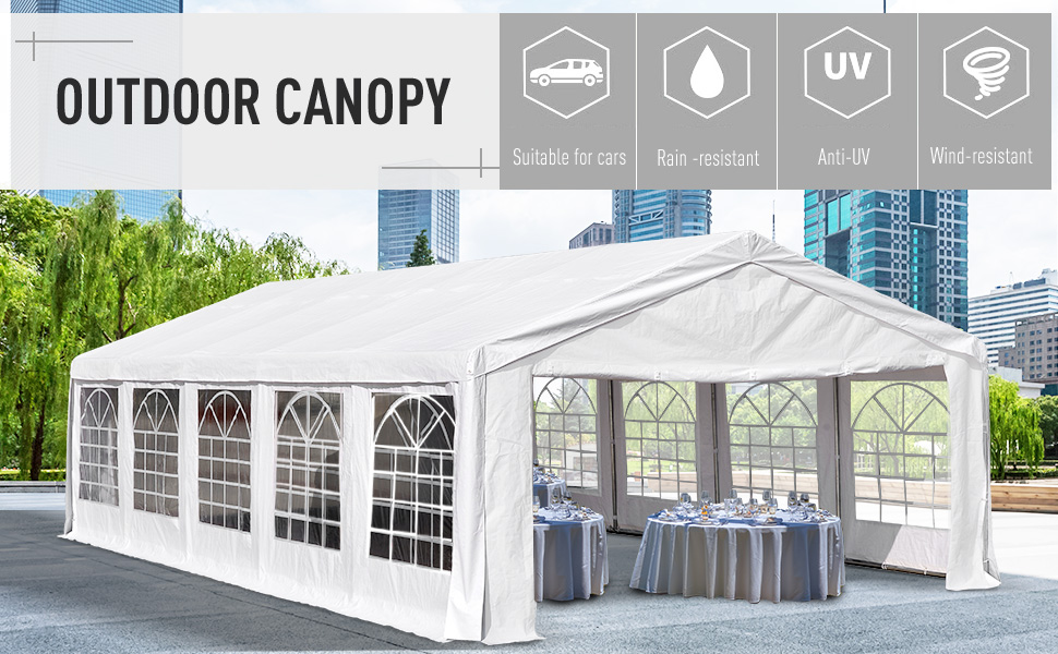 32'x20' Large Steel Carport Garage Wedding Party Event Tent Gazebo Shelter
