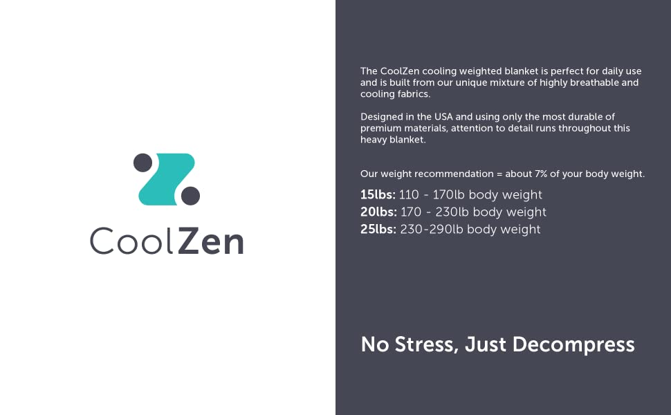 No Stress Just Decompress CoolZen Weighted Blanket