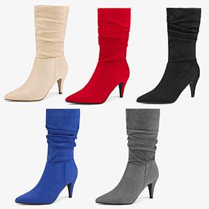 toe winter high stiletto heel ladies slouchy zipper casual boots