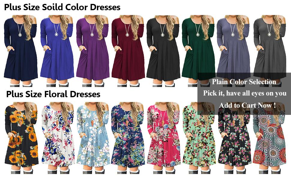 FOLUNSI Women\'s Plus Size Casual Long Sleeve Pleated T Shirt Dress with  Pockets