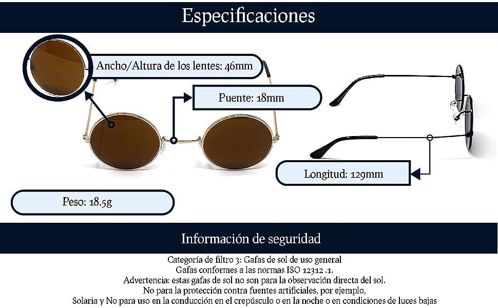 UltraByEasyPeasyStore Pequeñas Estilo Clásico Adulto Gafas de Sol Hombre Mujer Retro Redondo UV400