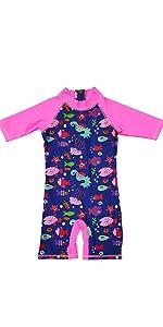 Baby girl sunsuit stripe pink cute swim cap