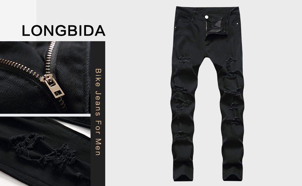 black ripped jeans for men biker slim fit