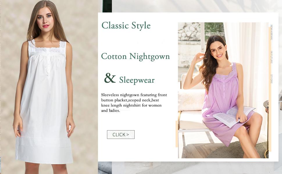 Hotouch Womens Comfort Cotton Nightshirt Sleeveless Sleepwear Nightgowns S-XXL