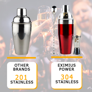 Barware accessories -7pc Bar tools kit Martini Gift Set Eximius Power Professional Bartender 304 Stainless Steel Cocktail Shaker Bar Tool Set Bonus Recipe Booklet 7Rainbow